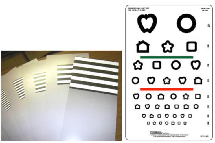 Figura 4. Valutazione dell'acuità visiva con le carte di Teller (a), l'ottotipo Patti Pics (b) e le forchettine (E di Albini)